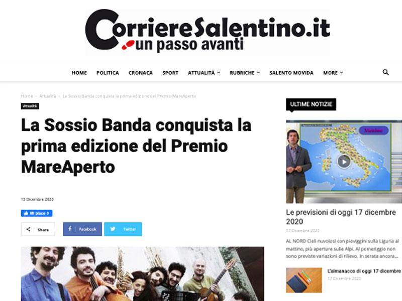 CORRIERE SALENTINO: La Sossio Banda conquista la prima edizione del Premio MareAperto