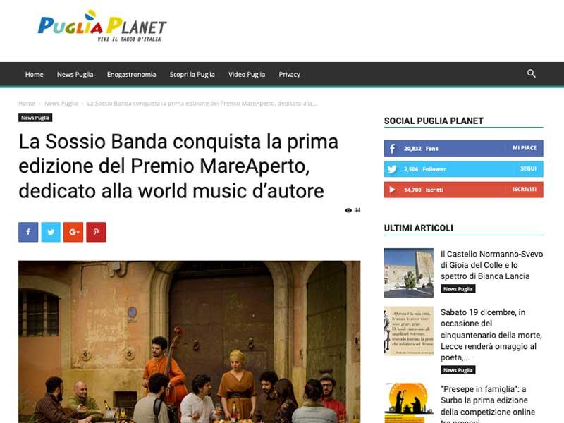 PUGLIA PLANET: Vincitori del Premio MareAperto, dedicato alla world music d'autore